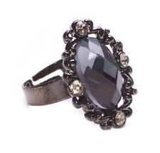 NEW BOHO FASHION QUIRKY GUNMETAL ADJUSTABLE RING BLUE & SILVER STONES(ZX51)