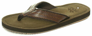 PDQ Mens Leather Look Toe Post Flip Flops Beach Summer Shoes Sandals Brown 6-12