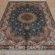 YILONG 4'x6' Persian Silk Rugs Handmade Medallion Flooring Decor Carpets 0623