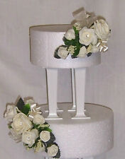 wedding flowers ivory roses & ribbons with greenery cake 2 tier topper