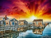 ART PRINT POSTER PHOTO SUNSET NANTUCKET WOODEN HOUSES LFMP0514