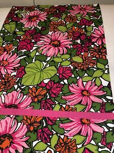 """Set/3 Barkcloth 30x21"""" Queen Shams Pink Flowers Green Tropical Leaves Floral"""