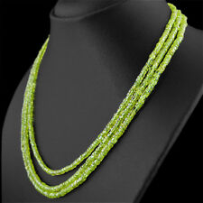 HAND MADE 277.50 CTS NATURAL 3 STRAND RICH GREEN PERIDOT UNHEATED BEADS NECKLACE