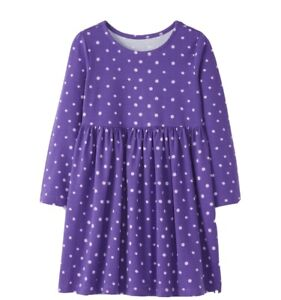 Hanna Andersson Purple Polka Dot LS Play Dress, Size 140 12 NWT $29 Stretch