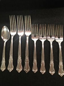 """(8 pcs) """"Valley Rose""""Wm A Rogers Sectional Oneida Ltd- 7 forks, 1 spoon, nice"""