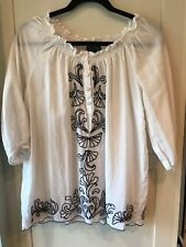 Women's Blouse Shirt THE WEBSTER Target Flowy White w/Black Stitched Designs Med