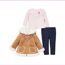 Little Me Girls 3-Piece Jacket, Top, Pant Outfit Set Tan 3T