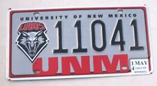 "NEW MEXICO GO LOBOS WOLF LICENSE PLATE "" 11041 "" UNIVERSITY COLLEGE ALBUQUERQUE"