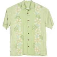 Tommy Bahama Mens Hawaiian Camp Shirt Size M Green Floral Geometric Aloha EUC