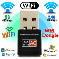 Dual Band 600Mbps 2.4G / 5G Hz Wireless Lan Card USB PC WiFi Adapter 802.11AC Bs