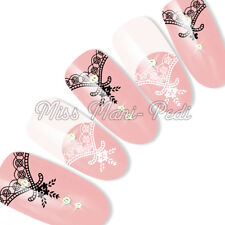 Nail Art Water Slide Decals Transfers Stickers Black & White Flowers & Lace Y209