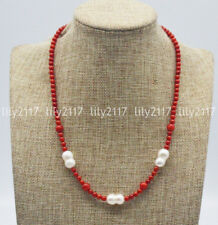 Baroque Pearl Gems bead Necklace 18'' Natural 4mm Round Red Coral &10x15mm White