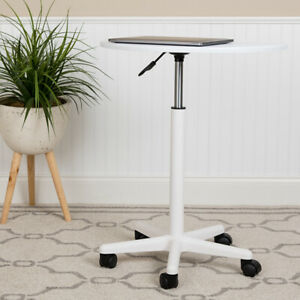 White Sit to Stand Mobile Laptop Computer Desk
