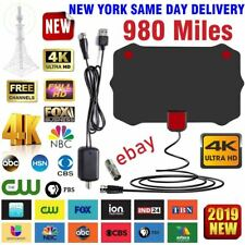 Digital TV Antenna 980 Miles Signal Booster Amplifier HDTV Indoor USB Thin 13ft