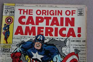 MARVEL THE ORIGIN OF CAPTAIN AMERICA #109 YEAR 1969