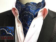 Negro Plata Oro Rojo Azul Gris Cachemira Morado Mezcla de Seda Corbata Ascot