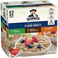 QUAKER OATS INSTANT VARIETY PACK, MAPLE, APPLES, CINNAMON (52 PACKETS) NON-GMO