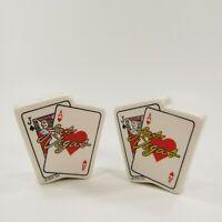 Vintage Salt Pepper Shakers Set Las Vegas Playing Cards Blackjack         INV144