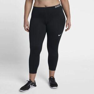 Womens nike pro plus size leggings tight fit capri length AA9684-010