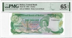 BELIZE $1 Dollar 1983, P-43, Central Bank, PMG 65 EPQ Gem UNC, QEII Portrait