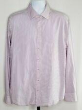 Seidensticker Men's Size 44/17.5 Shirt Long Sleeve Classic Pink Blue Pinstripe