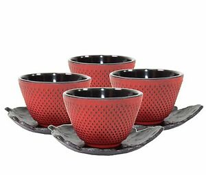 4 Sado Black Leaf Tea Saucer Red Cast Iron Teacup Hobnail Dot Japanese