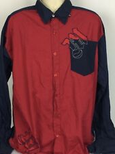 Makaveli Branded Mens 3XL XXXL Button Front Shirt Red Blue French Cuff