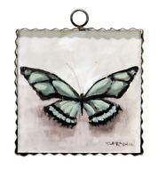Round Top Collection NWT - Mini Turquoise Butterfly Print - Metal & Wood