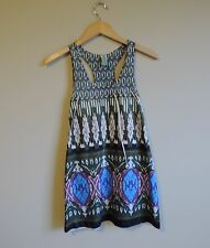 Women's JJ Authentic Boho Tribal Stretch Tank Top Shirt Tunic Size Small / XS