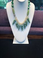 Vintage Wow Crystal green Stone rhinestone bohemian bib statement necklace