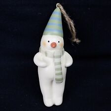 RUSS Christmas Ornament Bonnie Lynn Folk Snowman with Striped Scarf and Hat