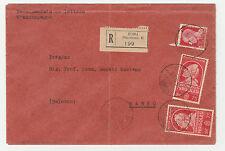 STORIA POSTALE 1938 REGNO 3 VALORI SU RACCOMANDATA ROMA 31/5 Z/1794