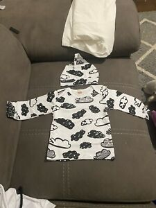 3 Piece Boys White And Black Outfit, Cloud Top With Matching Beanie.