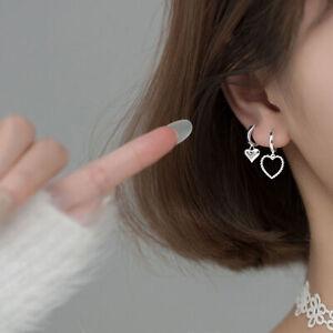 2PCS WOMEN HEART SWEET COPPER HOLLOW SHORT DROP EARRINGS FOR SHOPPING