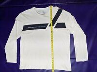 Nautica T Shirt Mens Size XL X Large White Black Long Sleeve Graphic Tee Stripe