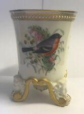 Antique Royal Worcester Spill Vase, Pot Hand Painted Birds