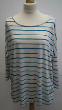 Cream and Green Stripe 3/4 Length Sleeve Top from Originals size 20/22