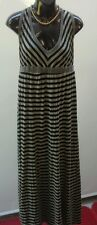 KATIE HOSKING Size XL Designer Silver Black Stripe Long Dress Comfy RRP $299