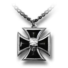 "Alchemy Gothic 1oz 21"" 3D Effect Black Enamel 'The Black Knight's Cross' Pendant"