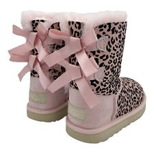 UGG EXOTIC BAILEY BOW II SILVER PINK SUEDE SHEEPKIN TODDLER GIRL'S BOOTS SIZE 12