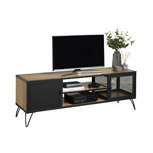 TV Stand With Contemporary Industrial Black Hairpin Legs - Oak Finish - 505mm H