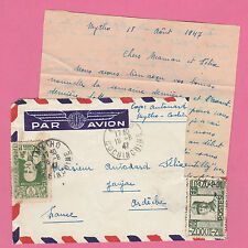 Sur Env. PAR AVION + LETTRE - CAD MYTHO (Cochinchine) du 18-8-1947 + SAIGON R.P.