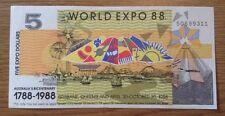 World Expo 88 Banknote. 5 Dollars. Australia's Bicentenary. 1788-1988.