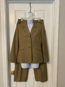 Le Suit Essentials Petite Taupe 2 Piece Jacket & Pant Suit Sz 6P
