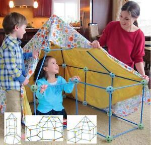 CHILDREN'S KIDS 72 PIECE  BUILD & PLAY CONSTRUCTION FORT TENT WENDY HOUSE DEN