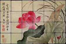 24x16 Lotus pond Backsplash Mural Tumbled Marble Tiles Kitchen Ideas Bing Yun