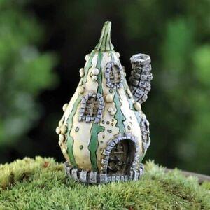 Fiddlehead Fairy Mini Garden Village Rustic Mini Striped Gourd House Ornament
