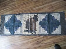 "Choices Quilted Bear Cabin woods Plaid Runner 18"" x 52"" cabin cottage New Dining"