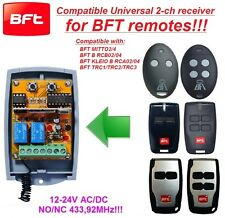 BFT compatible universal 2-channel receiver 12-24 VAC/VDC rolling & fixed code