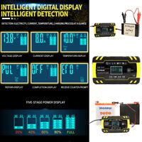 12V 24V 8A 4A Caricabatteria Auto Mantenitore Carica Batteria LCD 6-150AH Fast